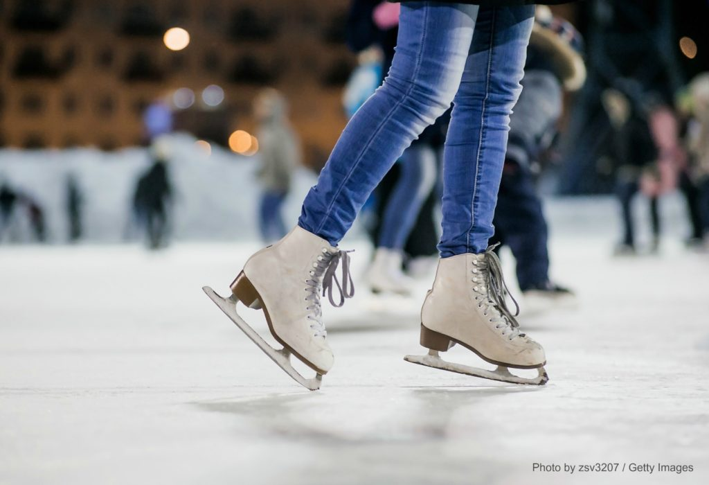 Girl Ice skating in CT