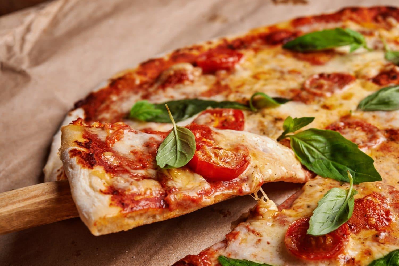 homemade pizza margarita close up at Mystic Pizza, CT
