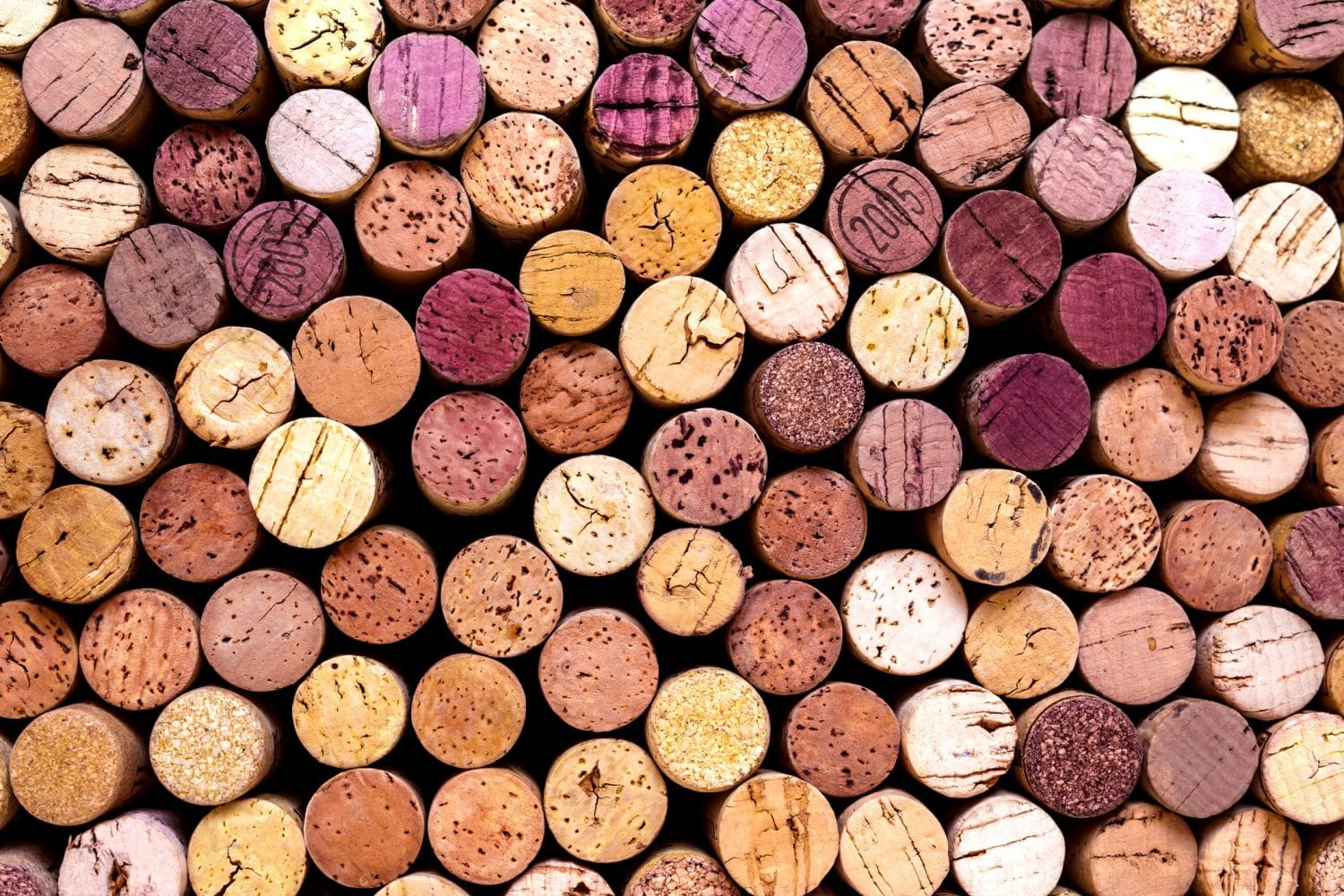colorful wine corks from wineries near Mystic, CT