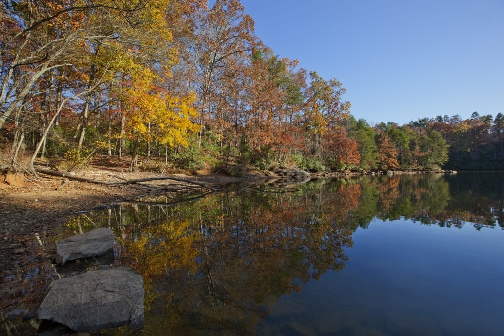 An autumn scenic of a Lake